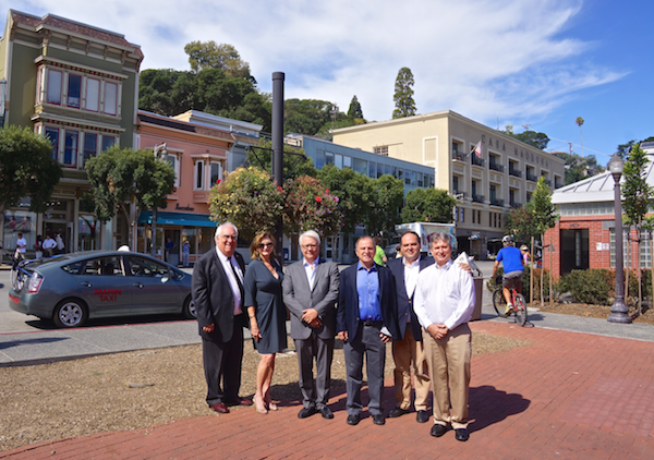 Portuguese officials from FLAD (Foundation for Luso-American Development) met with Sausalito-Cascais Sister City representatives and civic leaders to learn more about their many efforts to promote Portuguese art and culture which FLAD supports throughout the U.S. Pictured left to right: Jim Meyer & Cheryl Popp (Cascias Sister City co-chairs), Dr. Vasco Rato, (President of FLAD), 2015 Sausalito Mayor Tom Theodores, Miguel Luz (FLAD Director), & Vasco Morais (Cascais Sister City Committee). PHOTO CREDIT: Mike Moyle
